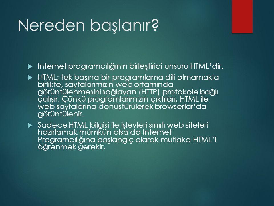 Nereden başlanır Internet programcılığının birleştirici unsuru HTML'dir.