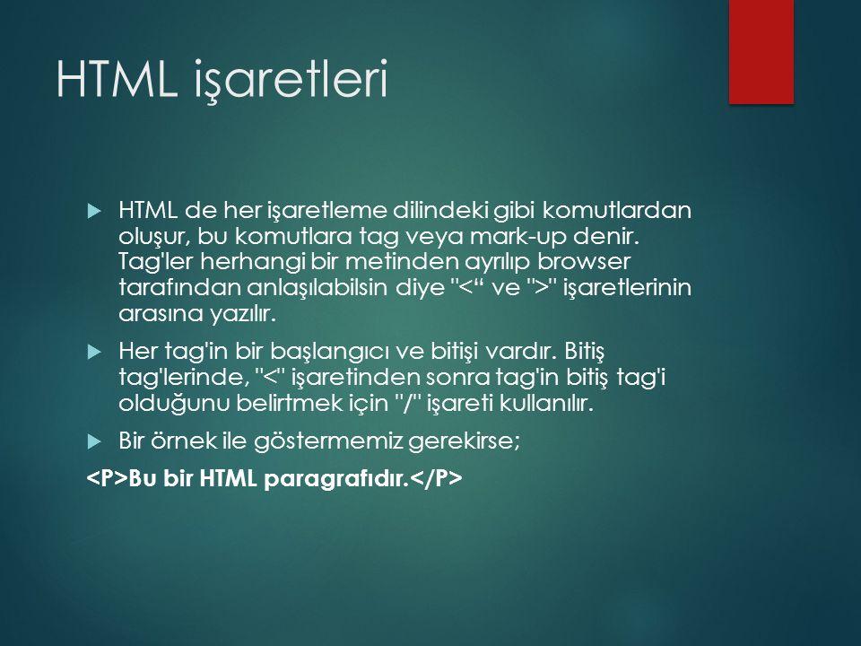 HTML işaretleri