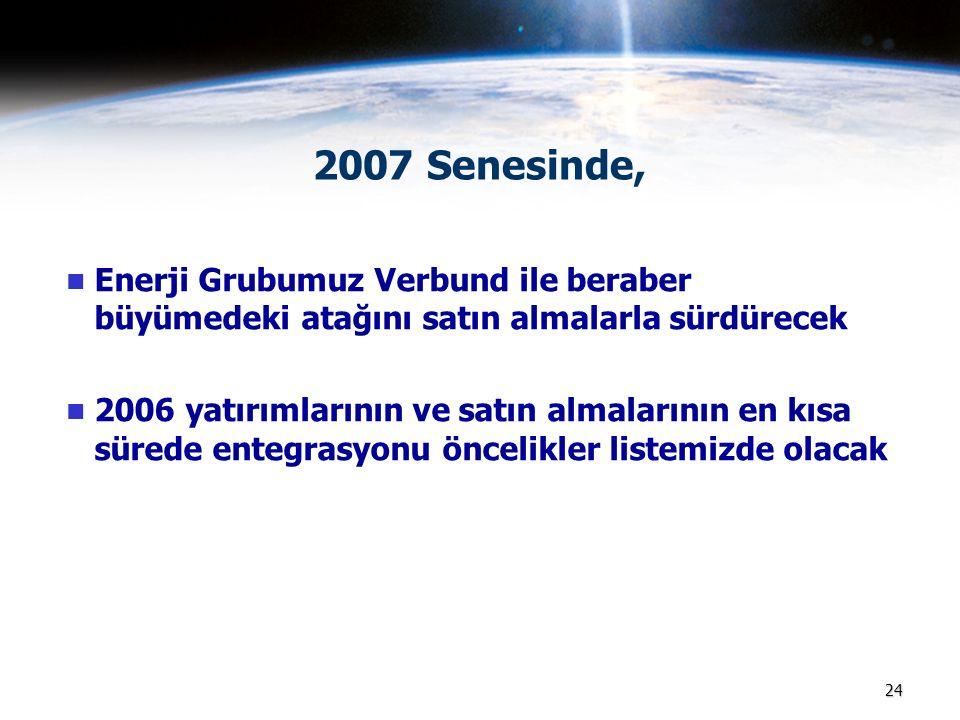 2007 Senesinde, Enerji Grubumuz Verbund ile beraber büyümedeki atağını satın almalarla sürdürecek.