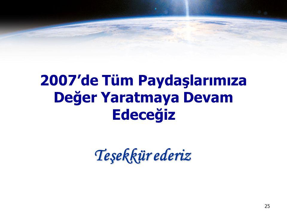 2007'de Tüm Paydaşlarımıza Değer Yaratmaya Devam Edeceğiz