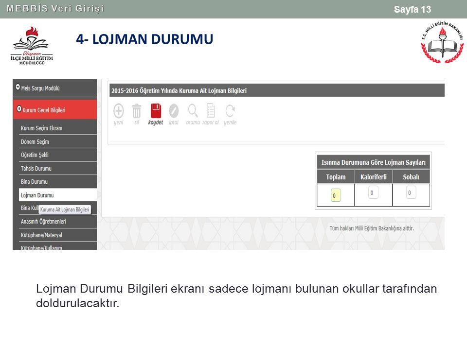 MEBBİS Veri Girişi 4- LOJMAN DURUMU.