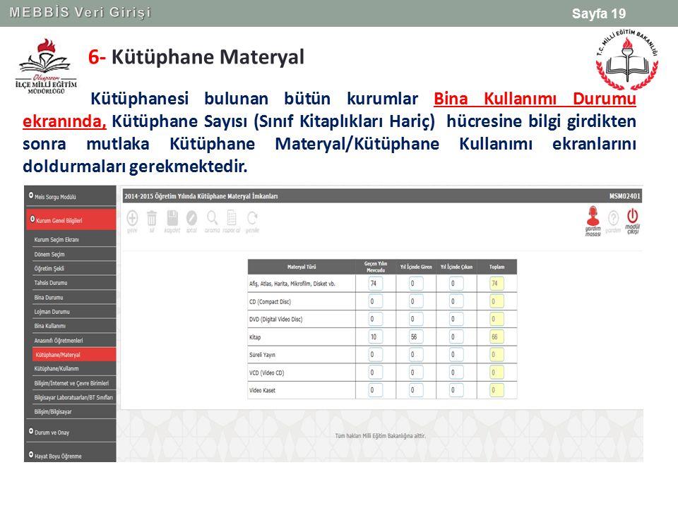 MEBBİS Veri Girişi 6- Kütüphane Materyal.