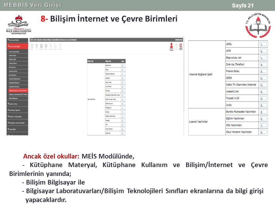 8- Bilişim İnternet ve Çevre Birimleri