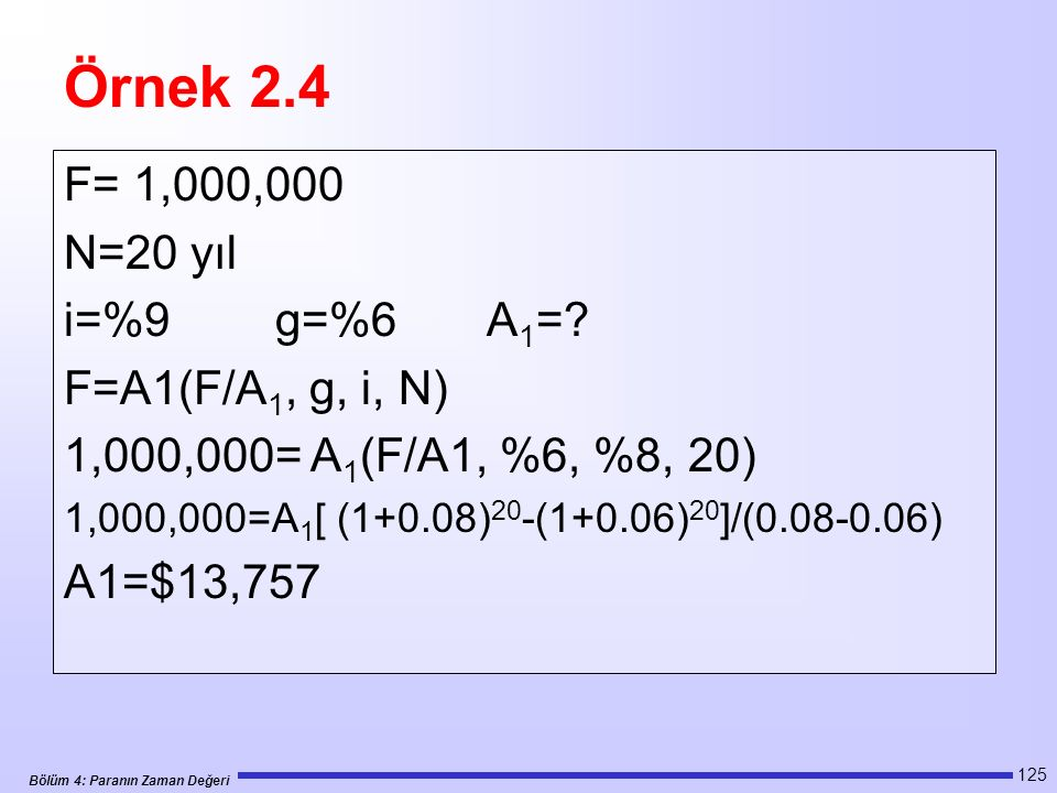Örnek 2.4 F= 1,000,000 N=20 yıl i=%9 g=%6 A1= F=A1(F/A1, g, i, N)