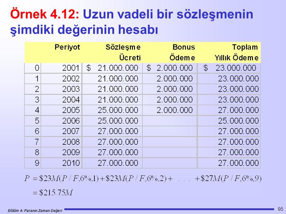 Örnek 4.12: Uzun vadeli bir sözleşmenin şimdiki değerinin hesabı