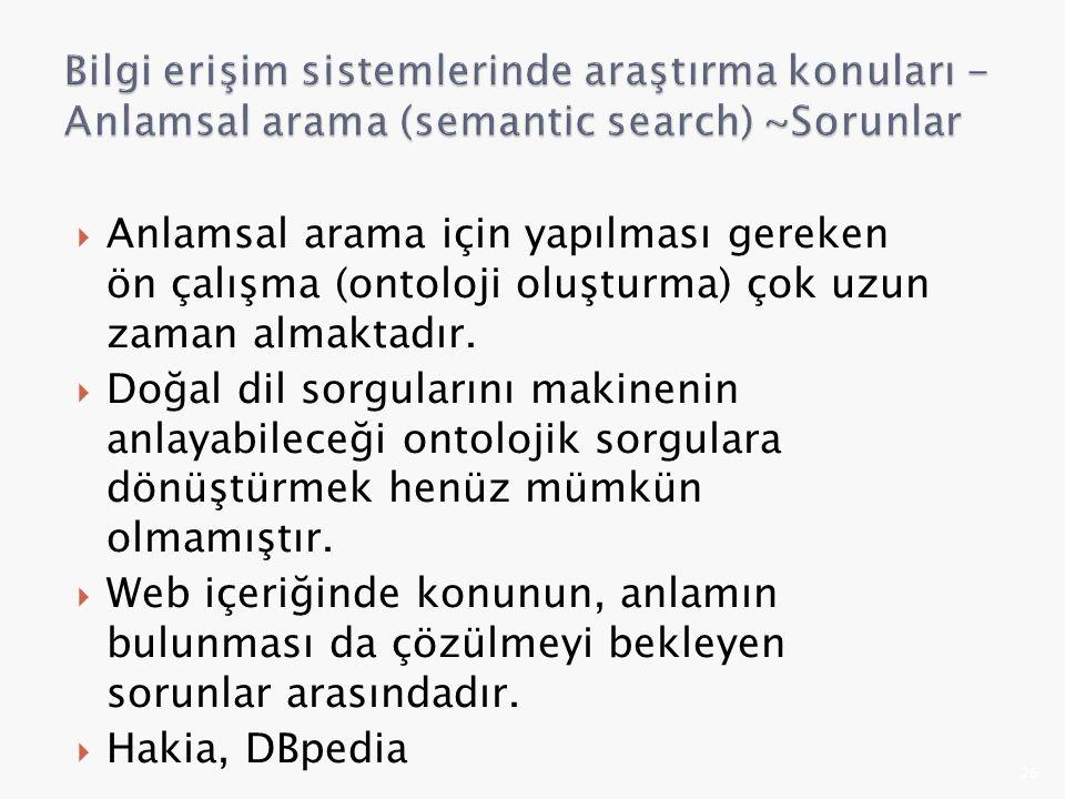 Bilgi erişim sistemlerinde araştırma konuları - Anlamsal arama (semantic search) ~Sorunlar