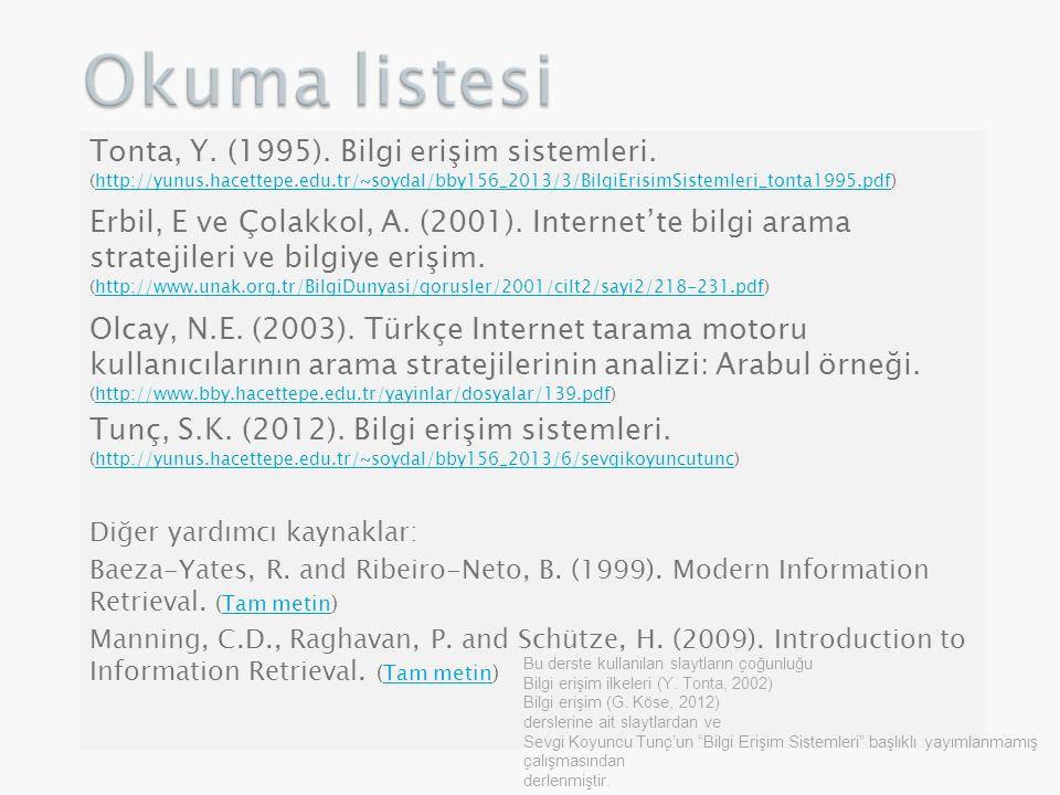 Okuma listesi Tonta, Y. (1995). Bilgi erişim sistemleri. (http://yunus.hacettepe.edu.tr/~soydal/bby156_2013/3/BilgiErisimSistemleri_tonta1995.pdf)