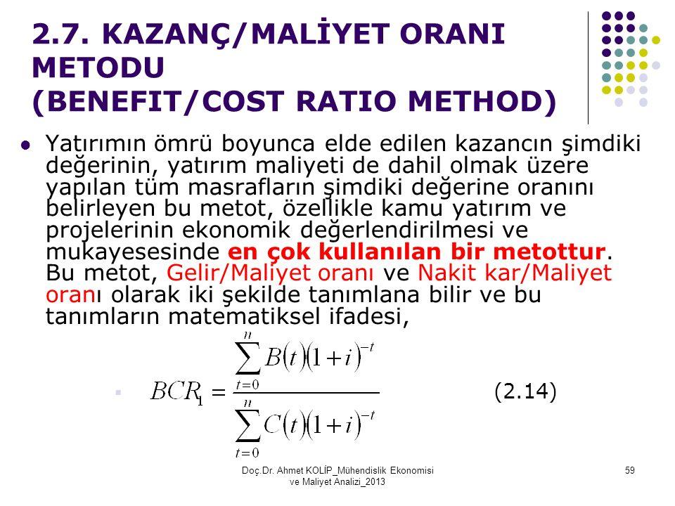 2.7. KAZANÇ/MALİYET ORANI METODU (BENEFIT/COST RATIO METHOD)