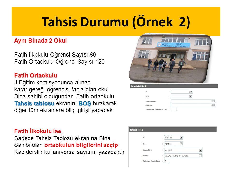 Tahsis Durumu (Örnek 2) Aynı Binada 2 Okul