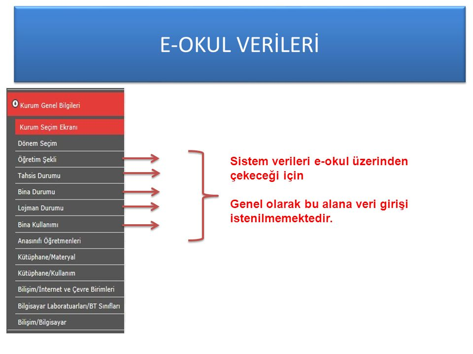 E-OKUL VERİLERİ Sistem verileri e-okul üzerinden çekeceği için
