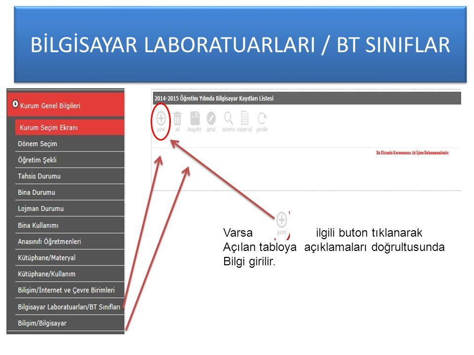 BİLGİSAYAR LABORATUARLARI / BT SINIFLAR