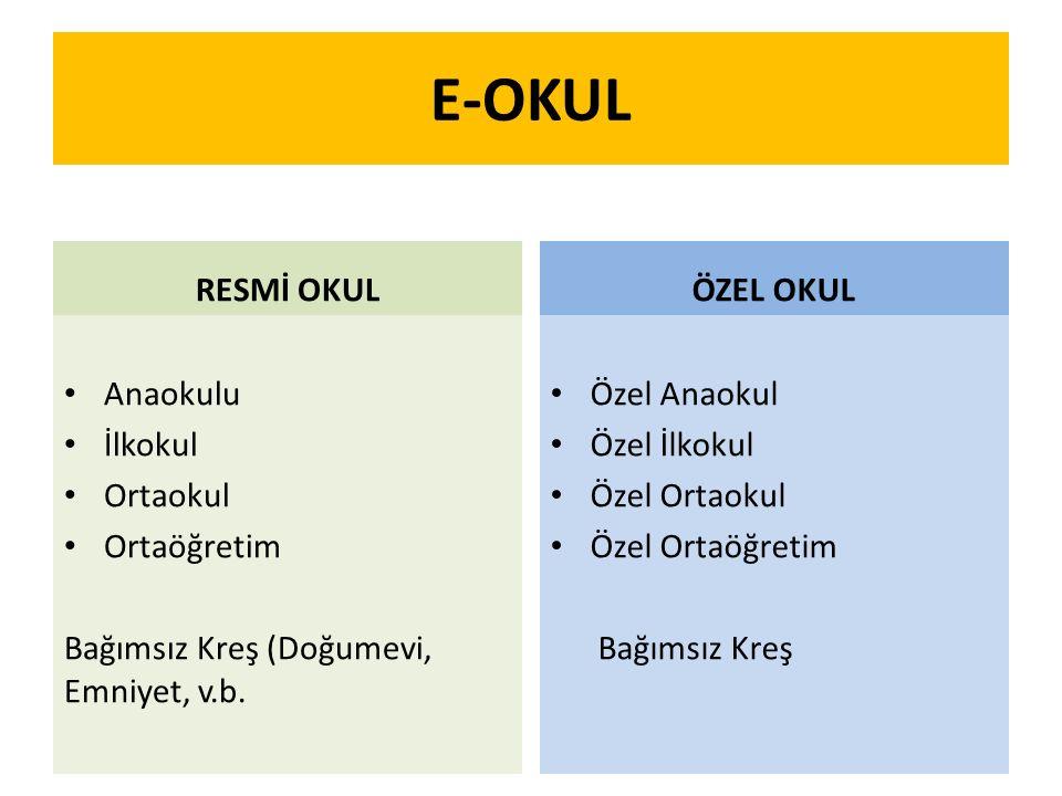 E-OKUL RESMİ OKUL ÖZEL OKUL Anaokulu İlkokul Ortaokul Ortaöğretim