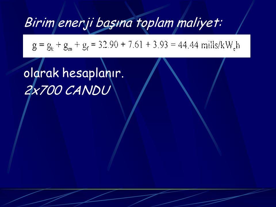 Birim enerji başına toplam maliyet:
