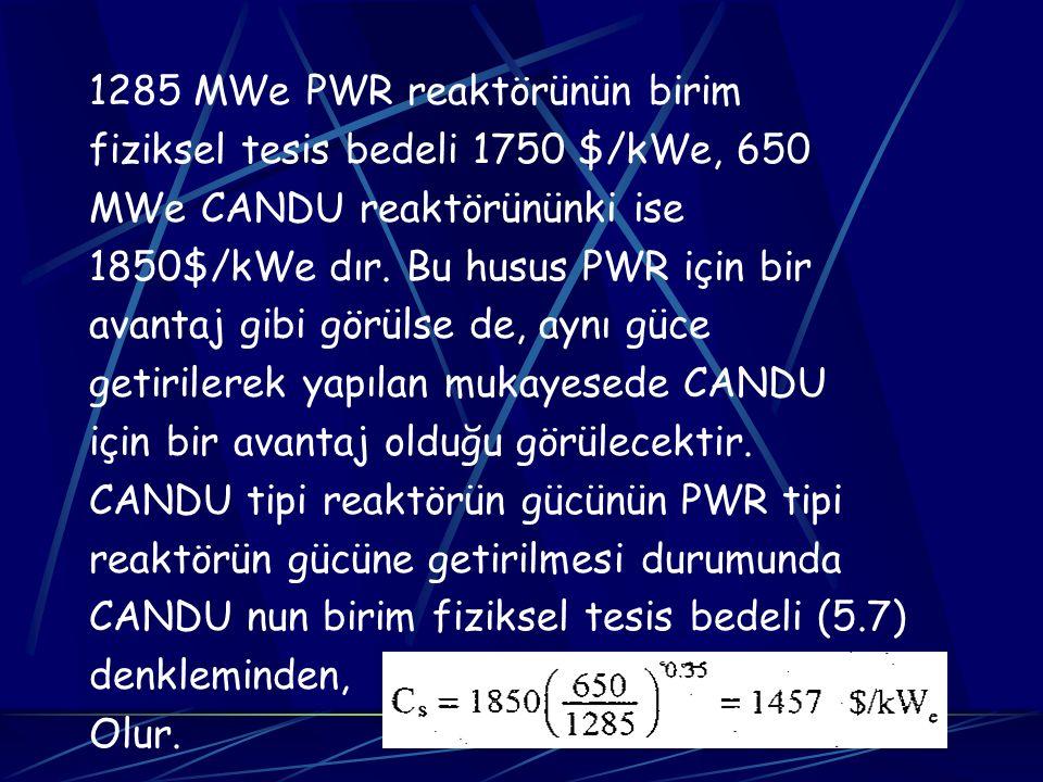 1285 MWe PWR reaktörünün birim