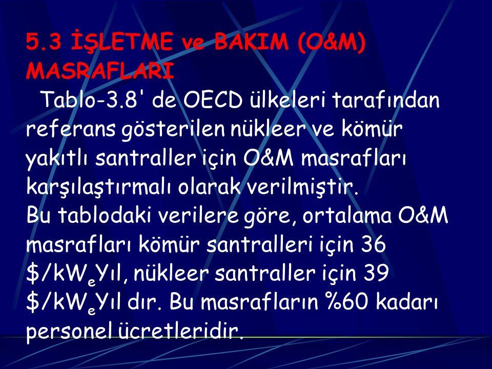 5.3 İŞLETME ve BAKIM (O&M) MASRAFLARI. Tablo-3.8 de OECD ülkeleri tarafından. referans gösterilen nükleer ve kömür.