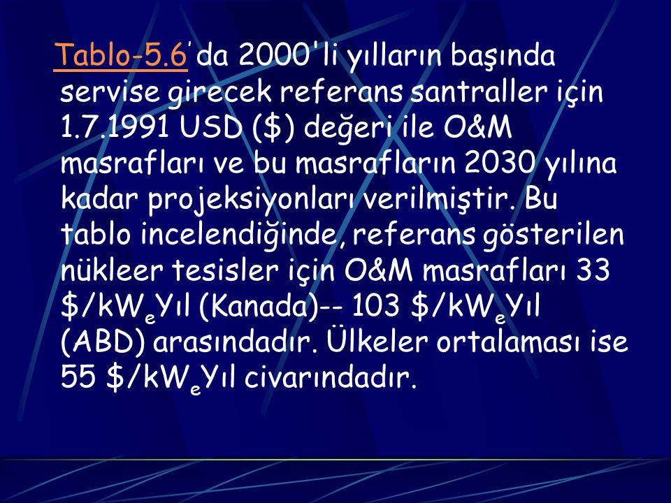 Tablo-5.6' da 2000 li yılların başında servise girecek referans santraller için 1.7.1991 USD ($) değeri ile O&M masrafları ve bu masrafların 2030 yılına kadar projeksiyonları verilmiştir.