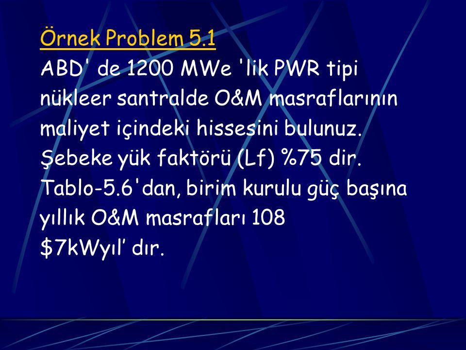 Örnek Problem 5.1 ABD de 1200 MWe lik PWR tipi. nükleer santralde O&M masraflarının. maliyet içindeki hissesini bulunuz.