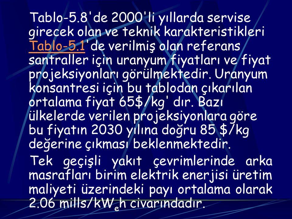 Tablo-5.8 de 2000 li yıllarda servise girecek olan ve teknik karakteristikleri Tablo-5.1 de verilmiş olan referans santraller için uranyum fiyatları ve fiyat projeksiyonları görülmektedir. Uranyum konsantresi için bu tablodan çıkarılan ortalama fiyat 65$/kg dır. Bazı ülkelerde verilen projeksiyonlara göre bu fiyatın 2030 yılına doğru 85 $/kg değerine çıkması beklenmektedir.