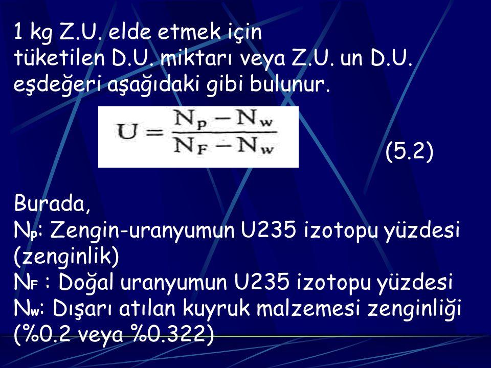 tüketilen D.U. miktarı veya Z.U. un D.U.