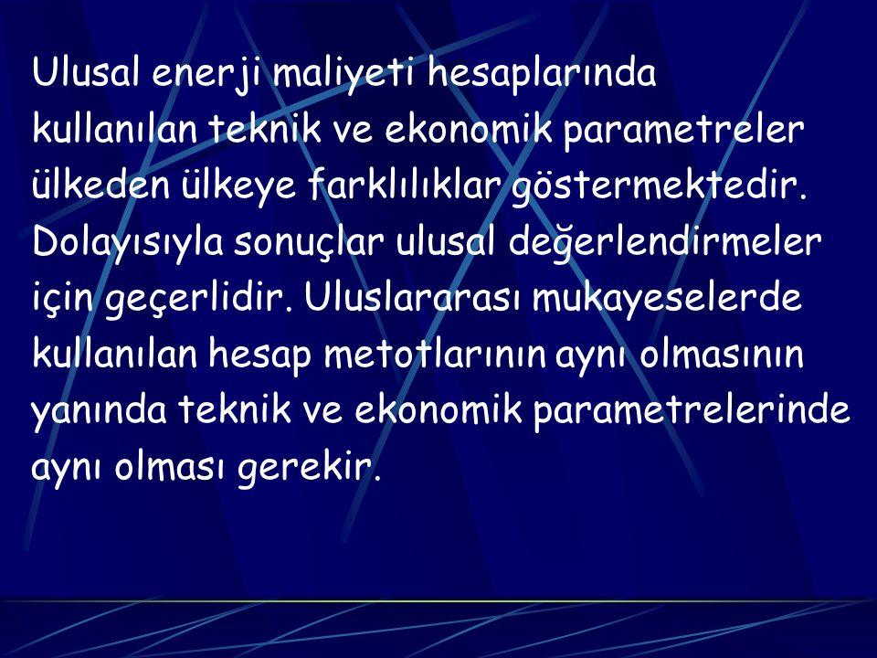 Ulusal enerji maliyeti hesaplarında