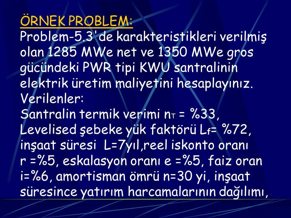 ÖRNEK PROBLEM: Problem-5.3 de karakteristikleri verilmiş. olan 1285 MWe net ve 1350 MWe gros. gücündeki PWR tipi KWU santralinin.