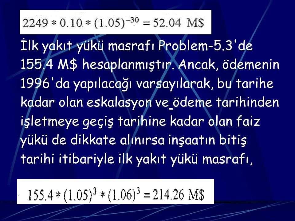 İlk yakıt yükü masrafı Problem-5.3 de