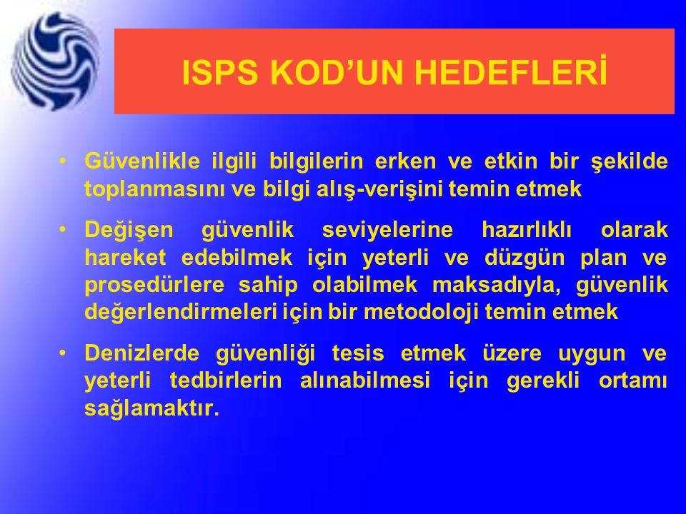 ISPS KOD'UN HEDEFLERİ Güvenlikle ilgili bilgilerin erken ve etkin bir şekilde toplanmasını ve bilgi alış-verişini temin etmek.