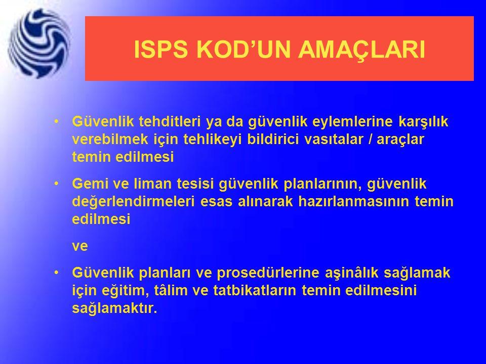 ISPS KOD'UN AMAÇLARI Güvenlik tehditleri ya da güvenlik eylemlerine karşılık verebilmek için tehlikeyi bildirici vasıtalar / araçlar temin edilmesi.