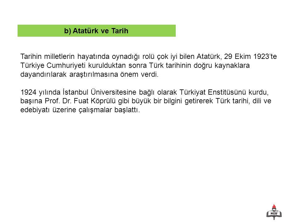 b) Atatürk ve Tarih