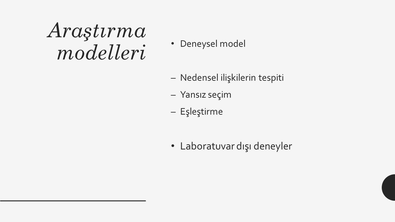 Araştırma modelleri Laboratuvar dışı deneyler Deneysel model