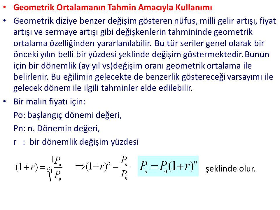 Geometrik Ortalamanın Tahmin Amacıyla Kullanımı