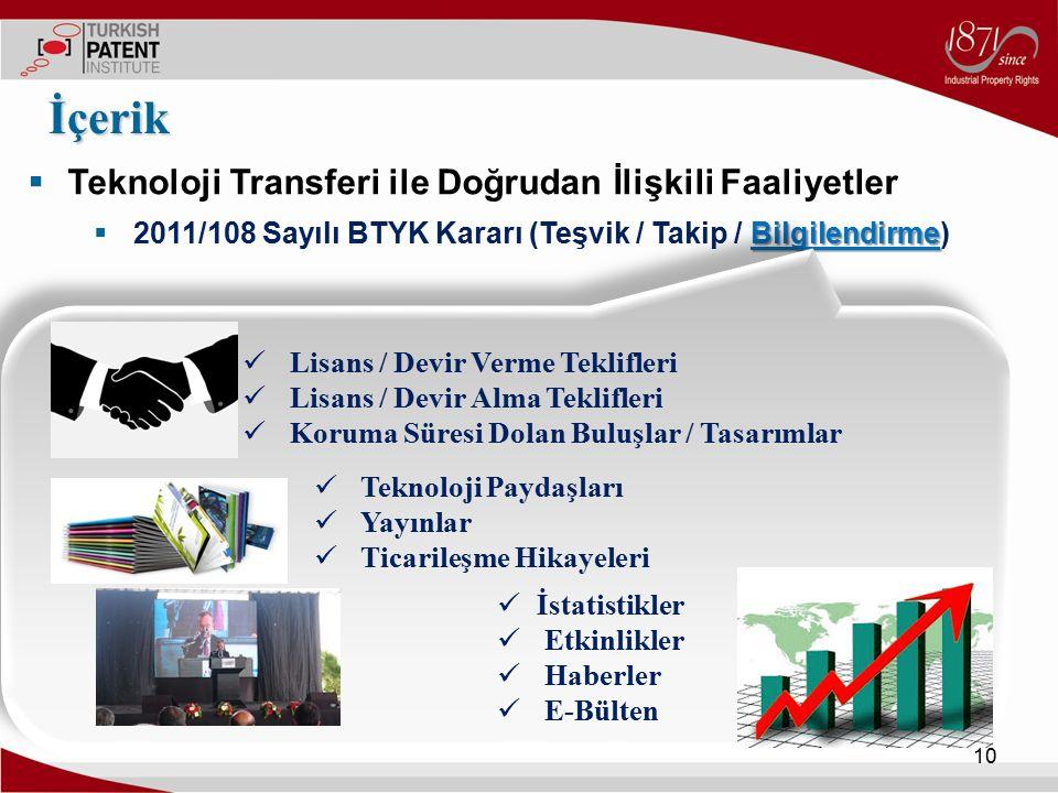 İçerik Teknoloji Transferi ile Doğrudan İlişkili Faaliyetler