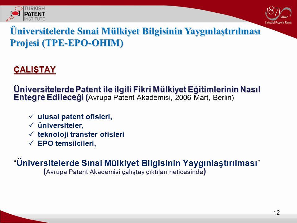 Üniversitelerde Sınai Mülkiyet Bilgisinin Yaygınlaştırılması Projesi (TPE-EPO-OHIM)