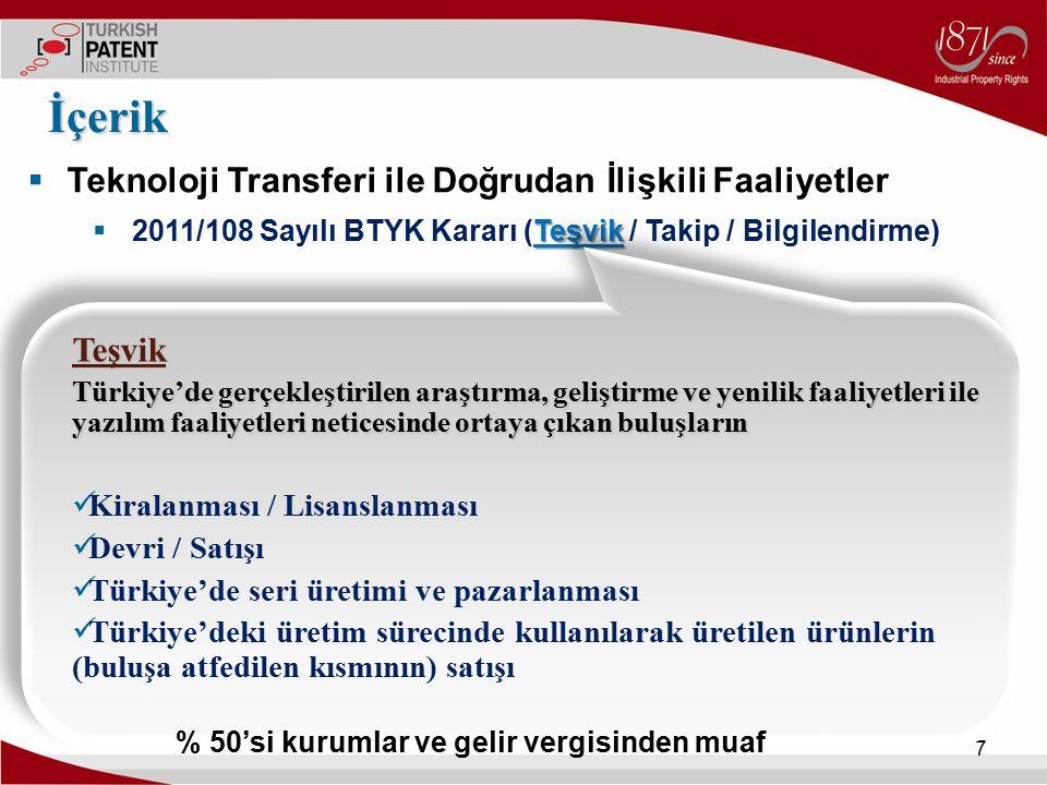 İçerik Teknoloji Transferi ile Doğrudan İlişkili Faaliyetler Teşvik