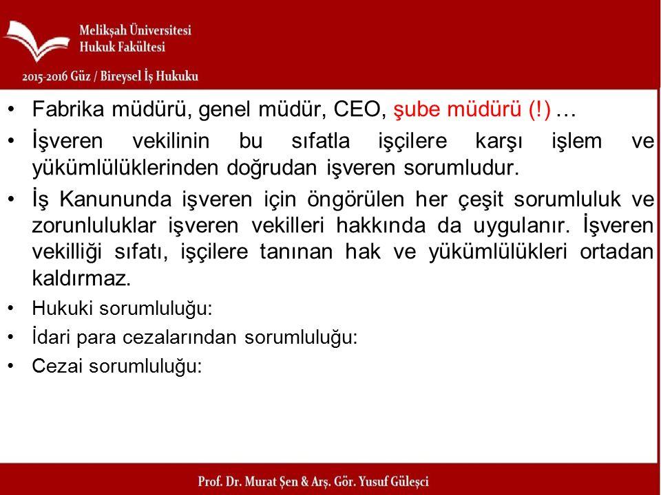 Fabrika müdürü, genel müdür, CEO, şube müdürü (!) …