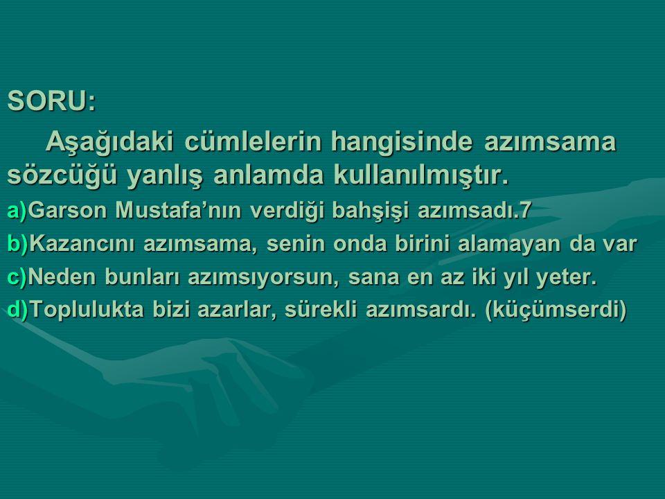 SORU: Aşağıdaki cümlelerin hangisinde azımsama sözcüğü yanlış anlamda kullanılmıştır. Garson Mustafa'nın verdiği bahşişi azımsadı.7.