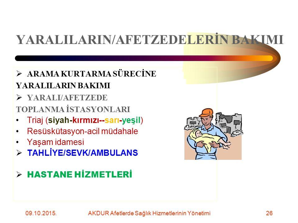 YARALILARIN/AFETZEDELERİN BAKIMI