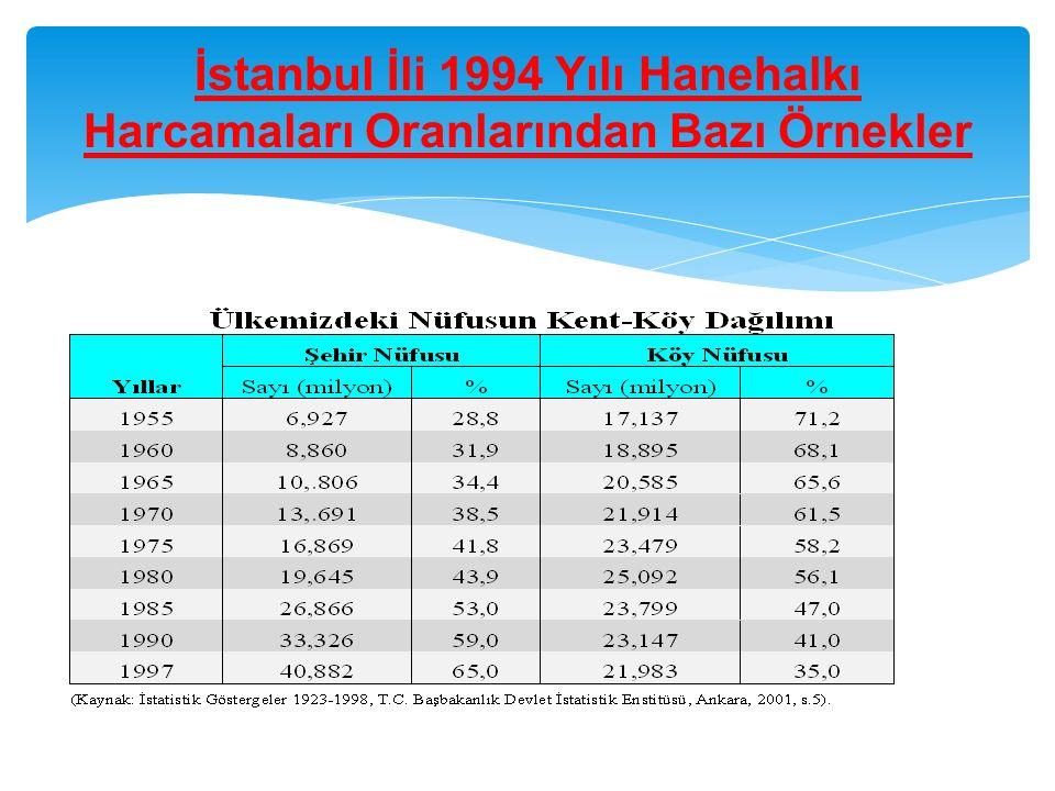 İstanbul İli 1994 Yılı Hanehalkı Harcamaları Oranlarından Bazı Örnekler