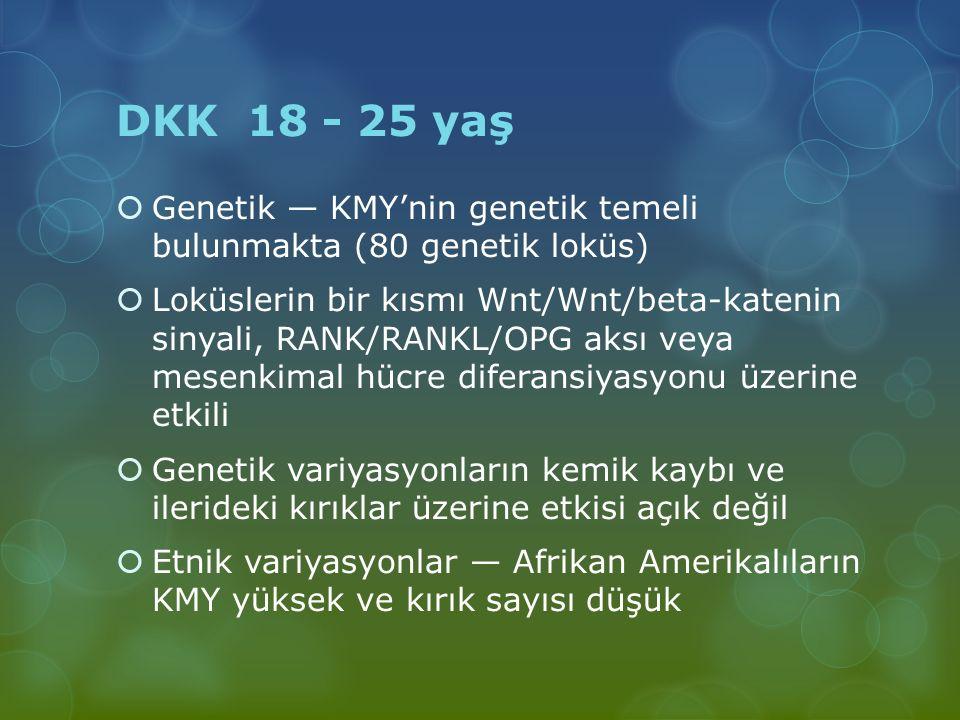 DKK 18 - 25 yaş Genetik — KMY'nin genetik temeli bulunmakta (80 genetik loküs)