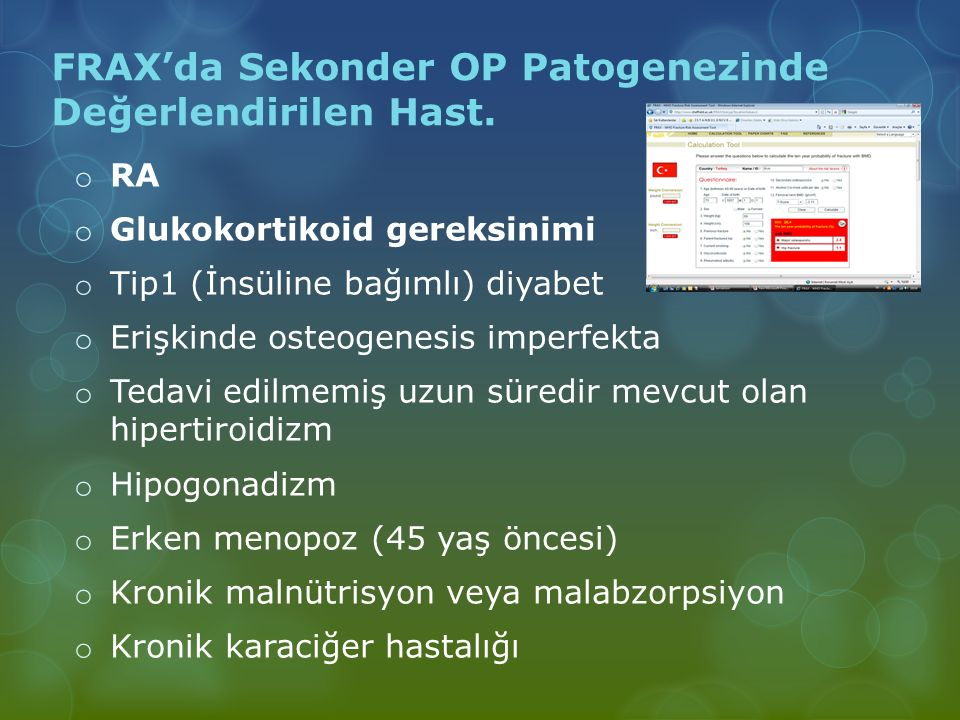 FRAX'da Sekonder OP Patogenezinde Değerlendirilen Hast.