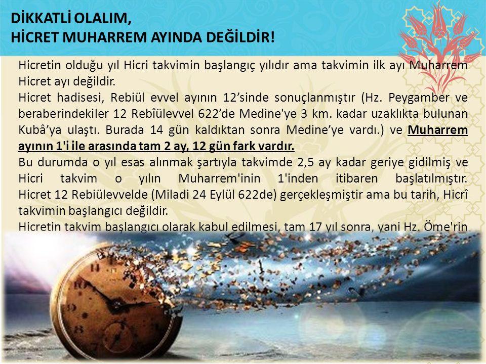 HİCRET MUHARREM AYINDA DEĞİLDİR!