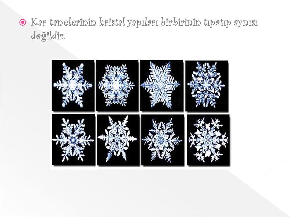 Kar tanelerinin kristal yapıları birbirinin tıpatıp aynısı değildir.