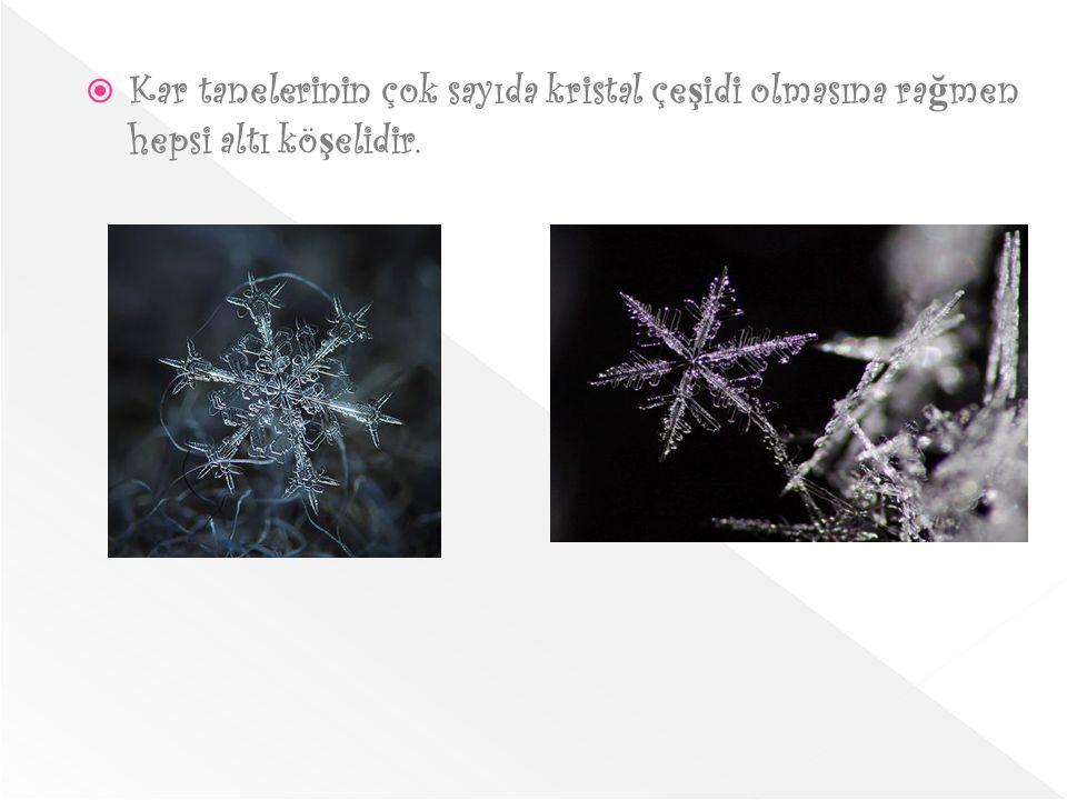 Kar tanelerinin çok sayıda kristal çeşidi olmasına rağmen hepsi altı köşelidir.