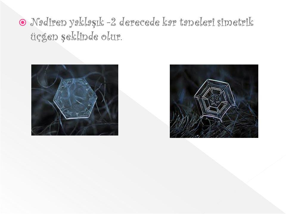 Nadiren yaklaşık -2 derecede kar taneleri simetrik üçgen şeklinde olur.