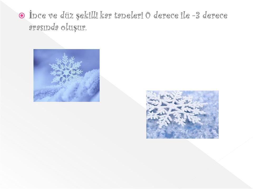 İnce ve düz şekilli kar taneleri 0 derece ile -3 derece arasında oluşur.