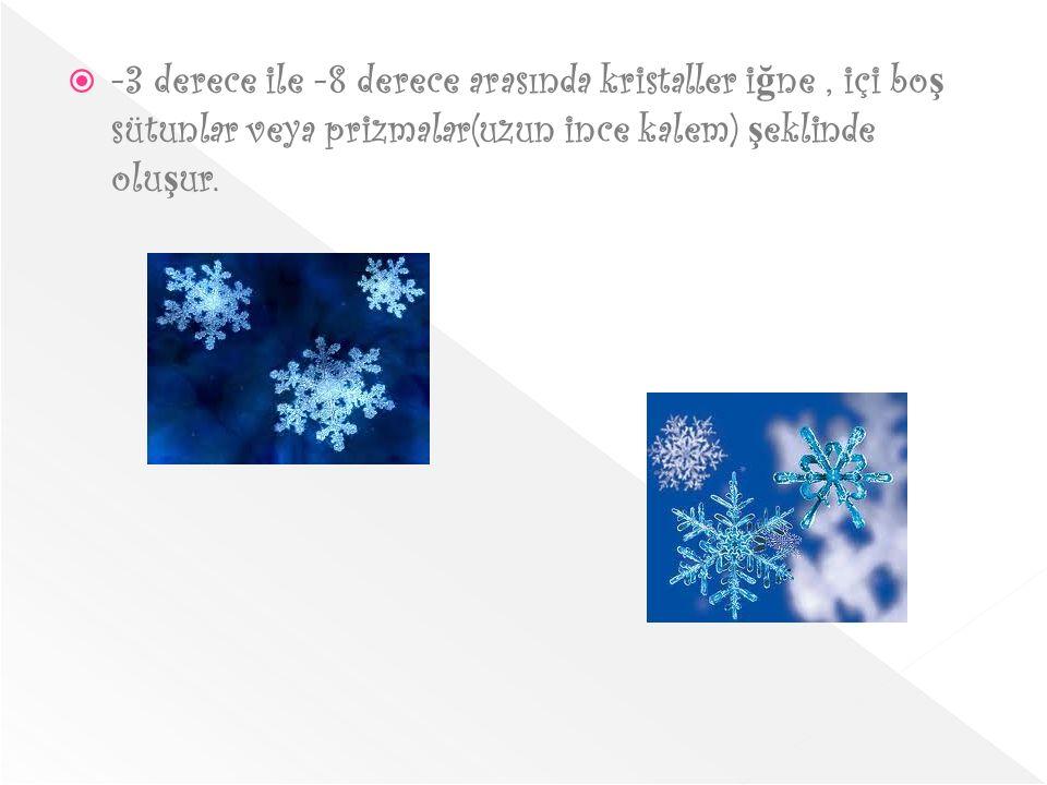 -3 derece ile -8 derece arasında kristaller iğne , içi boş sütunlar veya prizmalar(uzun ince kalem) şeklinde oluşur.