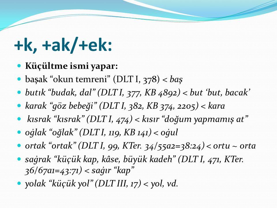 +k, +ak/+ek: Küçültme ismi yapar:
