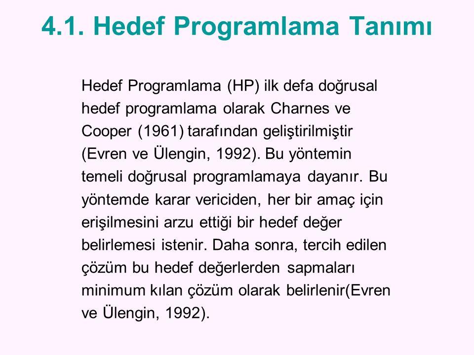 4.1. Hedef Programlama Tanımı