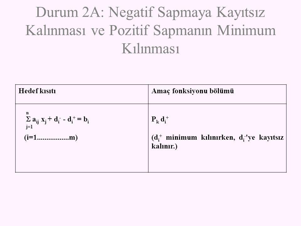 Durum 2A: Negatif Sapmaya Kayıtsız Kalınması ve Pozitif Sapmanın Minimum Kılınması