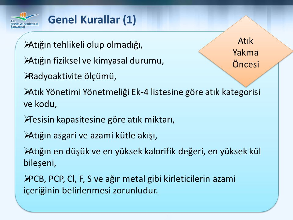Genel Kurallar (1) Atık Yakma Öncesi Atığın tehlikeli olup olmadığı,